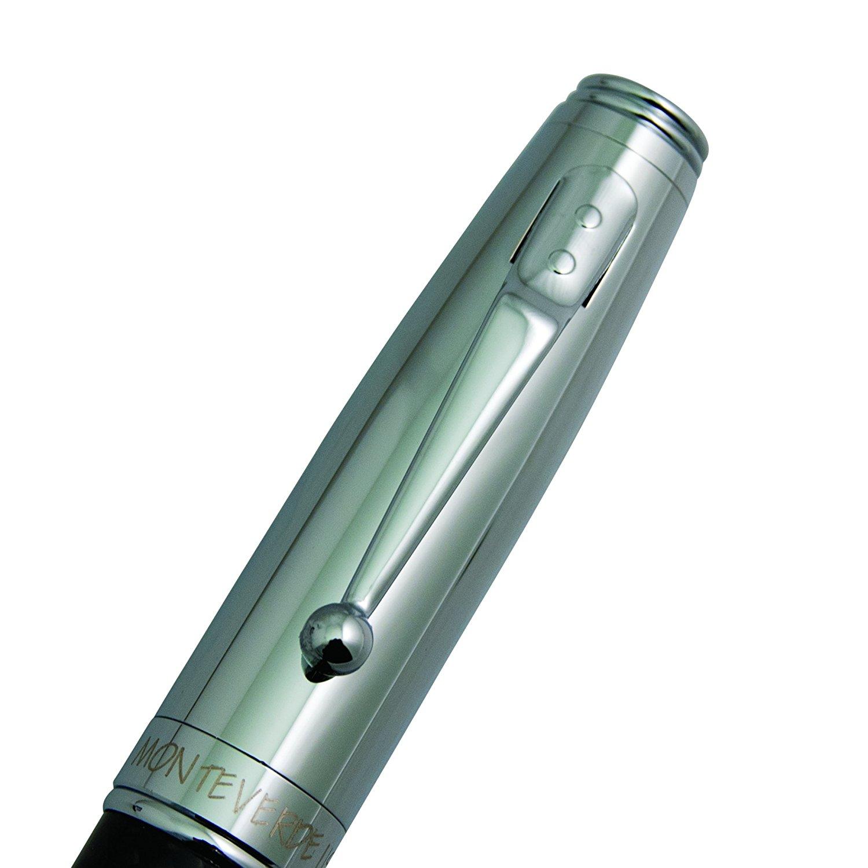 MV40063 Chrome /& Carbon Fiber Monteverde Invincia  Ballpoint Pen New